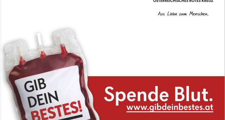 Aufruf zum Blutspenden am 03. August in Wörgl
