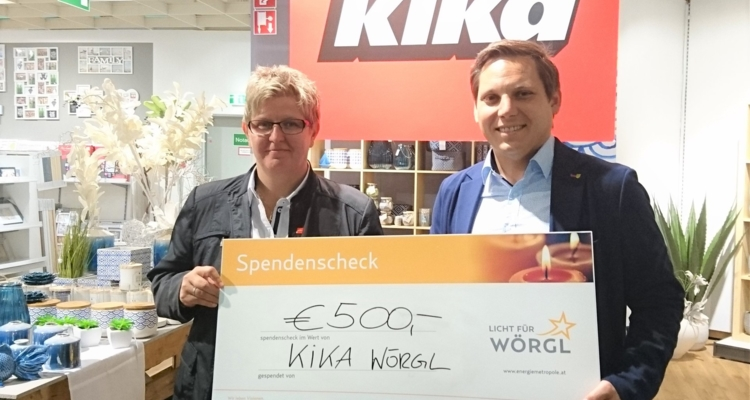 """""""Licht für Wörgl"""": KIKA spendet Euro 500.-"""