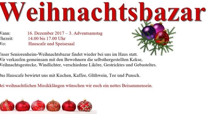 Seniorenheim-Weihnachtsbazar  am 16. Dezember 2017