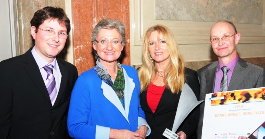 Daniel Aniser, Bildungsministerin Claudia Schmied, Doris Hackl, Hubert Kronberger
