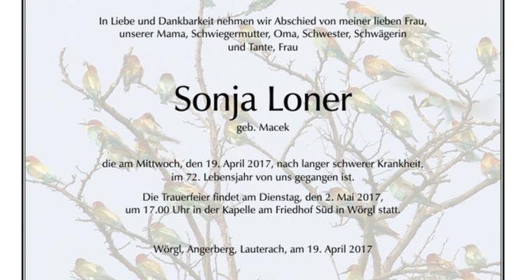 Wir trauern um Sonja Loner
